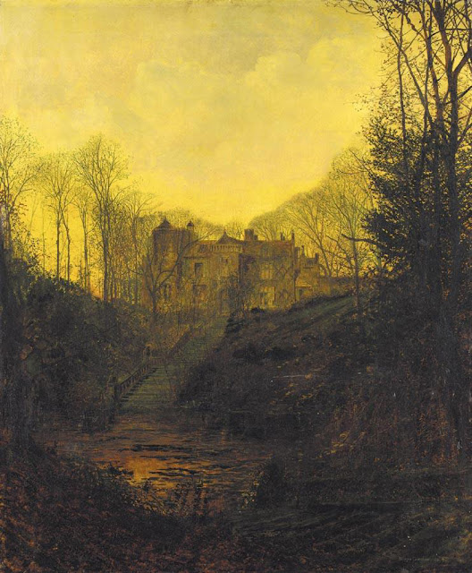 """A Manor House In Fall"" John Atkinson Grimshaw dusk in the autumn, creepy mansion, fine art, yellow"