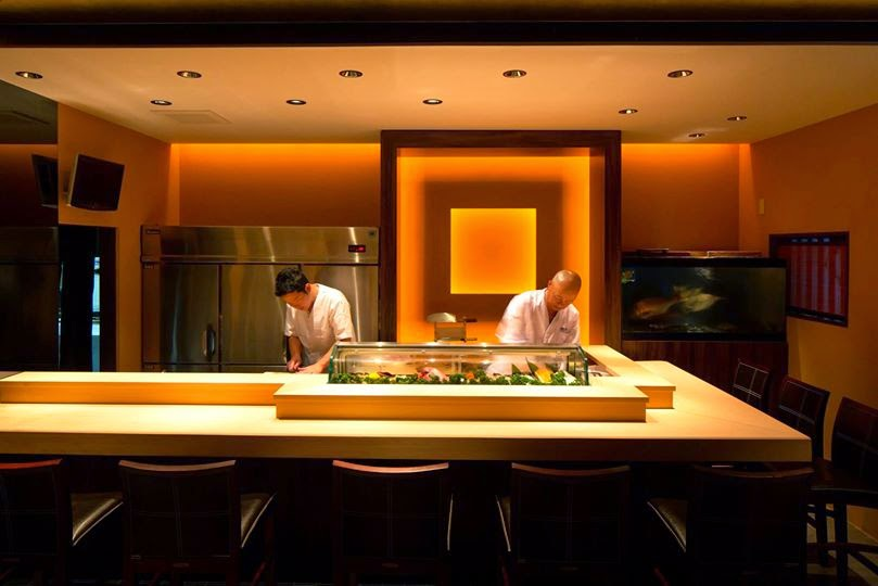 Restaurant interior use koren glass and lighting or small