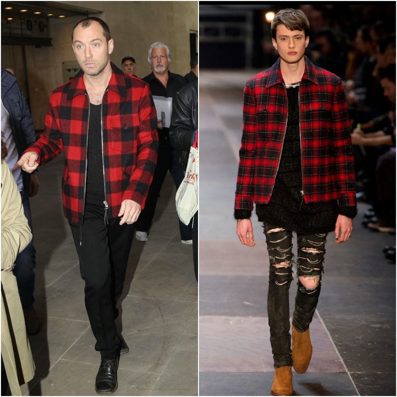 00O00 Menswear Blog: Jude Law in Saint Laurent red check lumber jacket - BBC 1 Studios