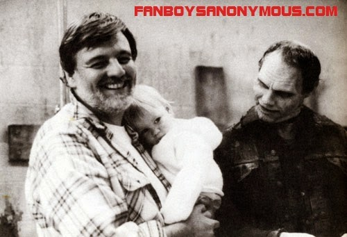 rare behind the scenes photograph of George Romero on the set of Day of the Dead with daughter and Bub (Sherman Howard)