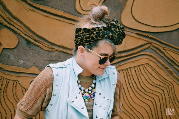 studded vest - hair scarf - statement necklace
