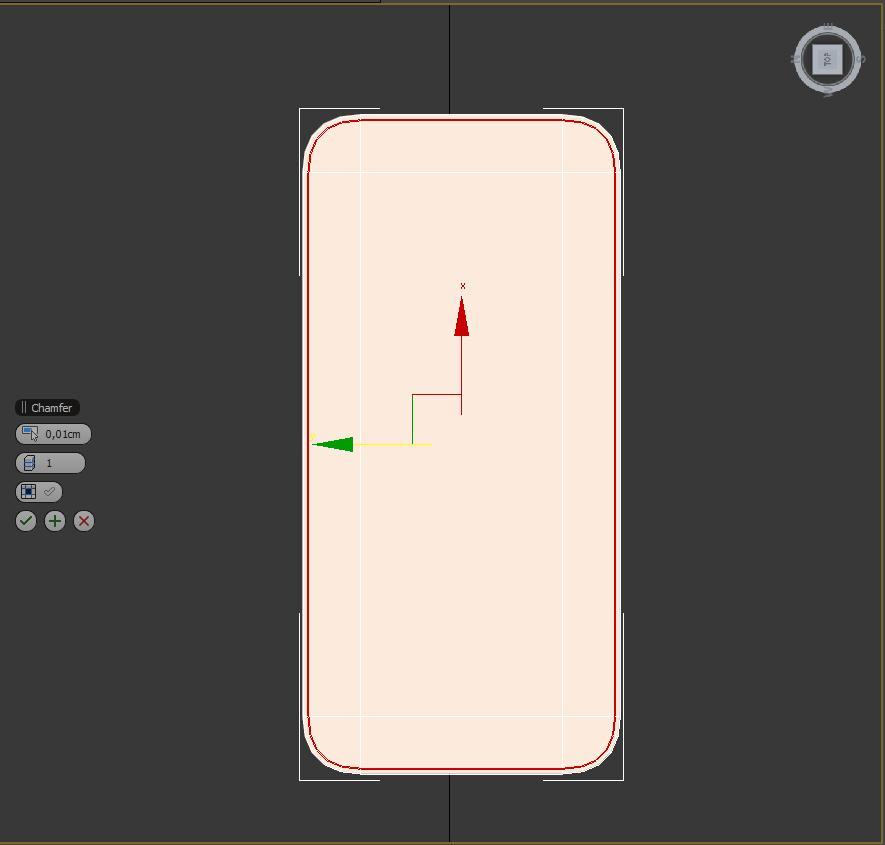 Creando polígonos de la cara superior e inferior en 3ds max del teléfono iphone5.