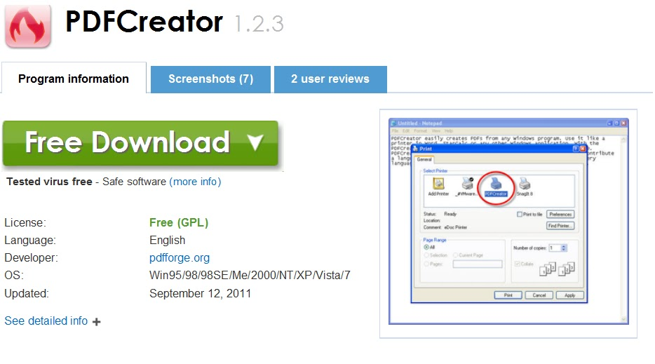 Download PDFCreator gratis - itccmnet