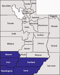 Beaver, Garfield, Iron, Kane and Washington counties