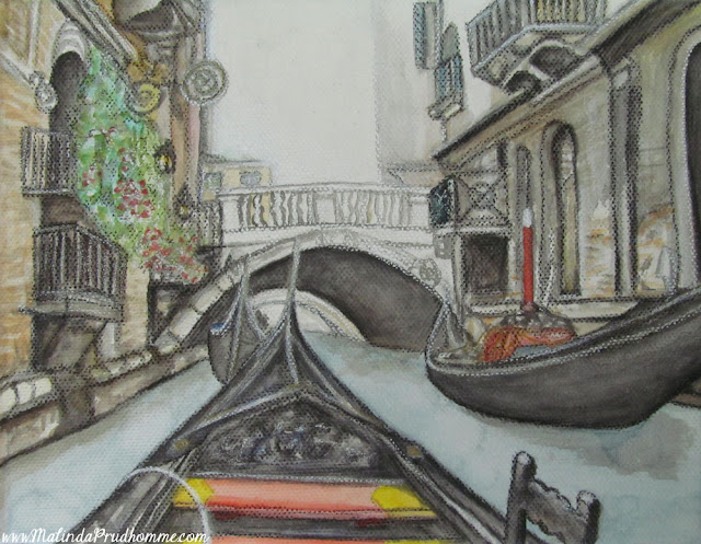 travel artist, mixed media artist, watercolour paintings, travel art, charcoal artist, mixed media art, original paintings, venice, canal, gondola, italy