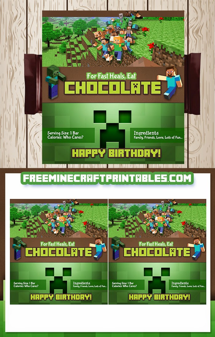 free printable minecraft candy wrapper