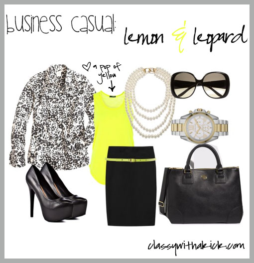 Neon Yellow Pencil Skirt Work Bag Pearls Platform Shoes
