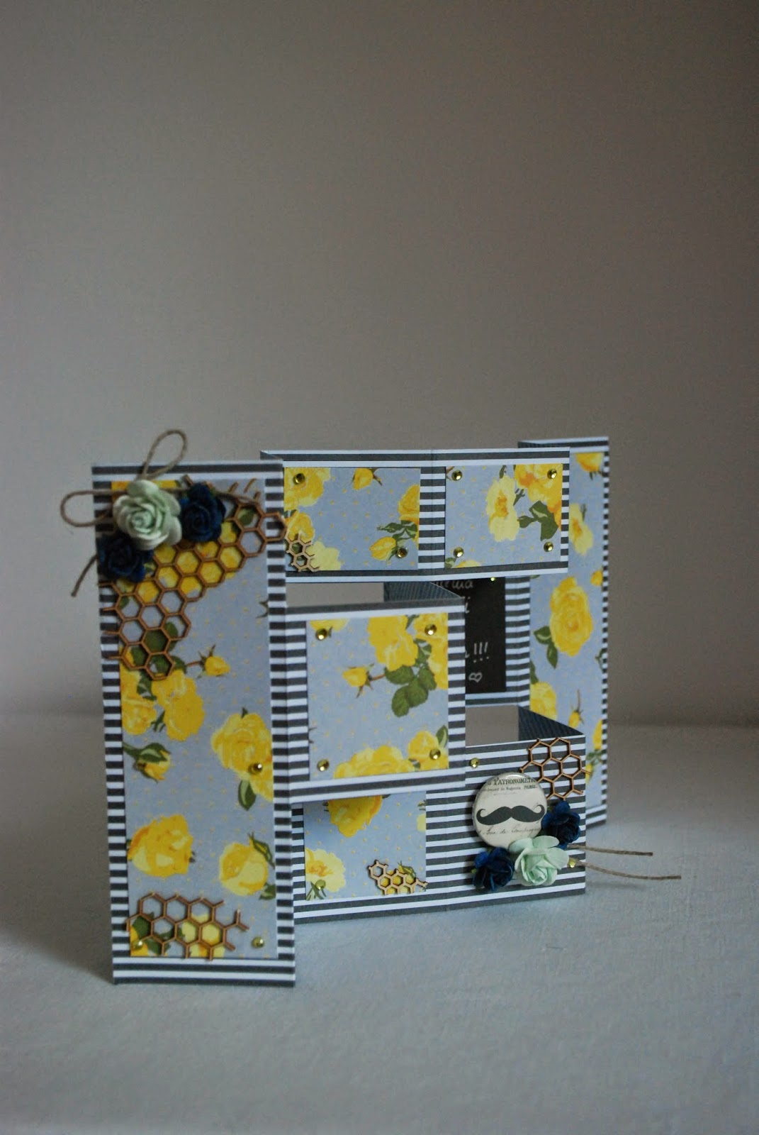 kartka harmonijkowa, dla taty, żółty, granatowy, card for dad