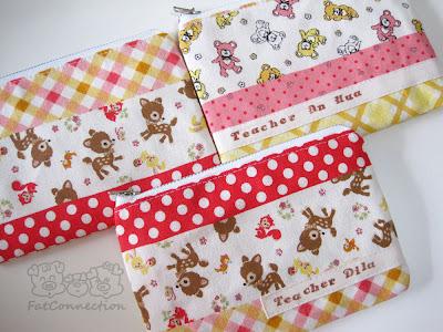 zipper pouch, japanese fabric, handmade, kokka, cute, cotton linen