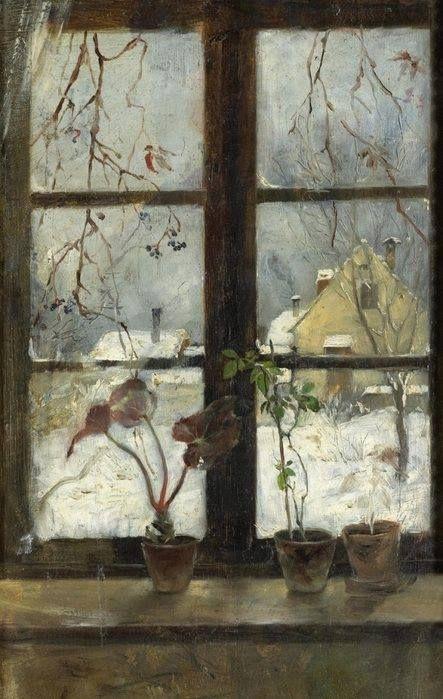 Lumikarpalo Katso, talvi pudottaa ikkunain eteen