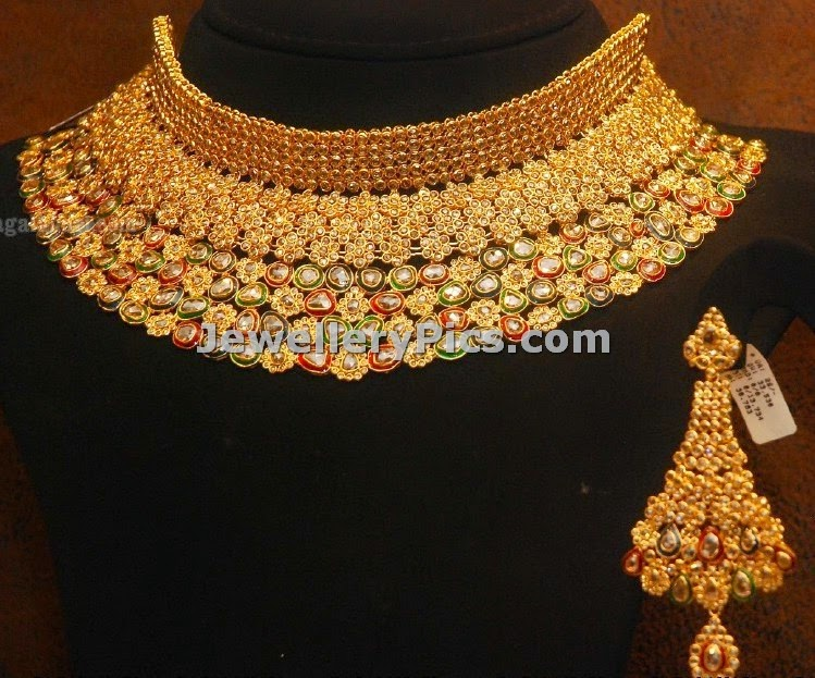 Broad kundan chakri uncut diamonds choker