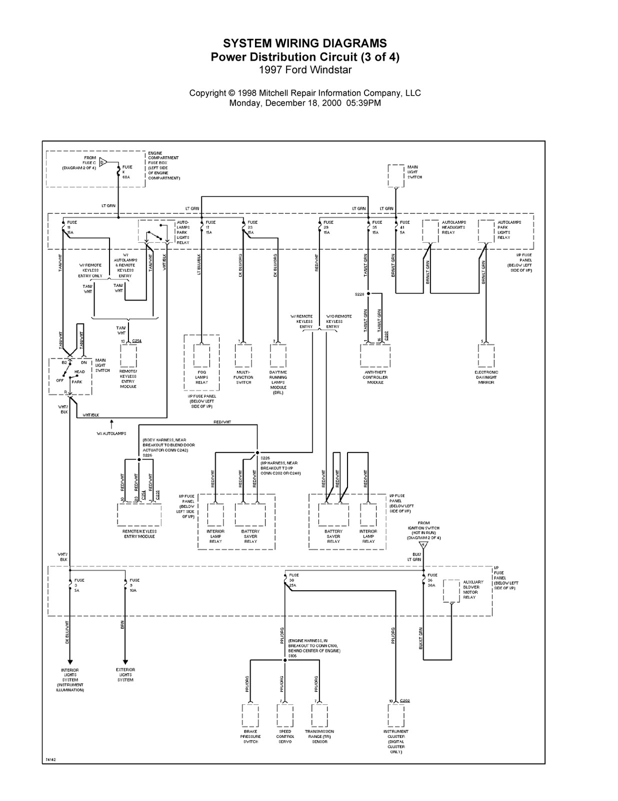 Complete System Wiring Diagrams 1997 Ford Windstar Diagram For 03 01 Fuse