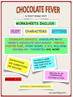 Chocolate Fever student worksheets, novel, novel study, Ruth S, chocolate, novel packet,student worksheets, literature circles,