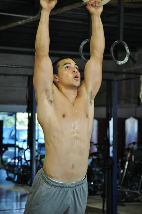 Man's sweaty jock armpits