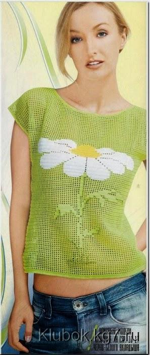 Blusa de dama moderna crochet filet