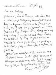 Lettre de Louis Barthou à propos de Mediterranea