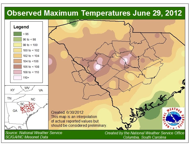 Images Click To Enlarge South Carolina High Temperatures June 29 2012 From National Weather Service Location Of South Carolina All Time Record High