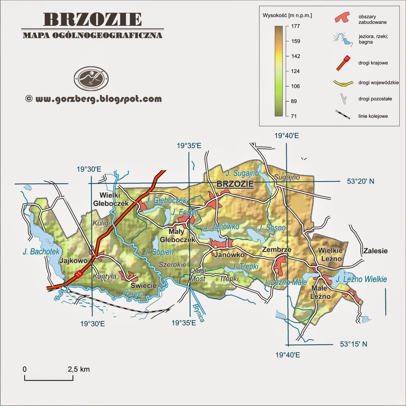 Mapa ogólnogeograficzna gminy Brzozie