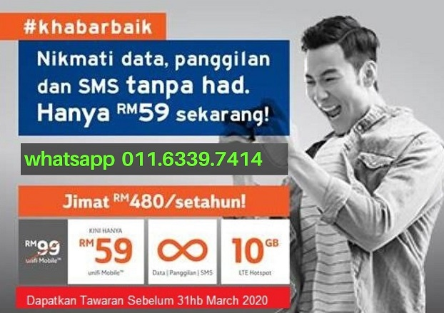 Register Unifi Mobile unlimited Data,Calls and SMS for RM59/month