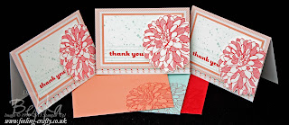 Sweet Sayings Notes with Regarding Dahlias Decorations by UK based Stampin' Up! Demonstrator Bekka Prideaux