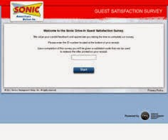 Sonic Drive-in Guest Satisfaction Survey on www.talktosonic.com