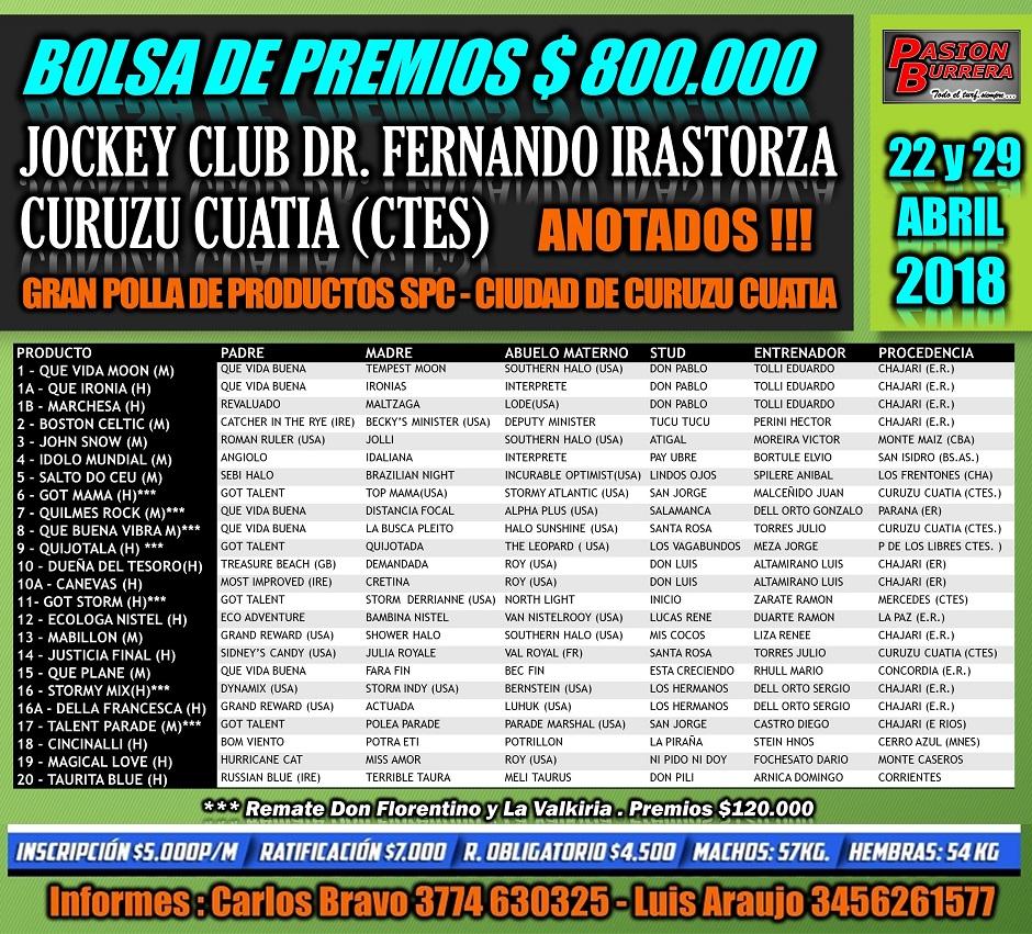 CURUZU CUATIA - POLLA LISTA