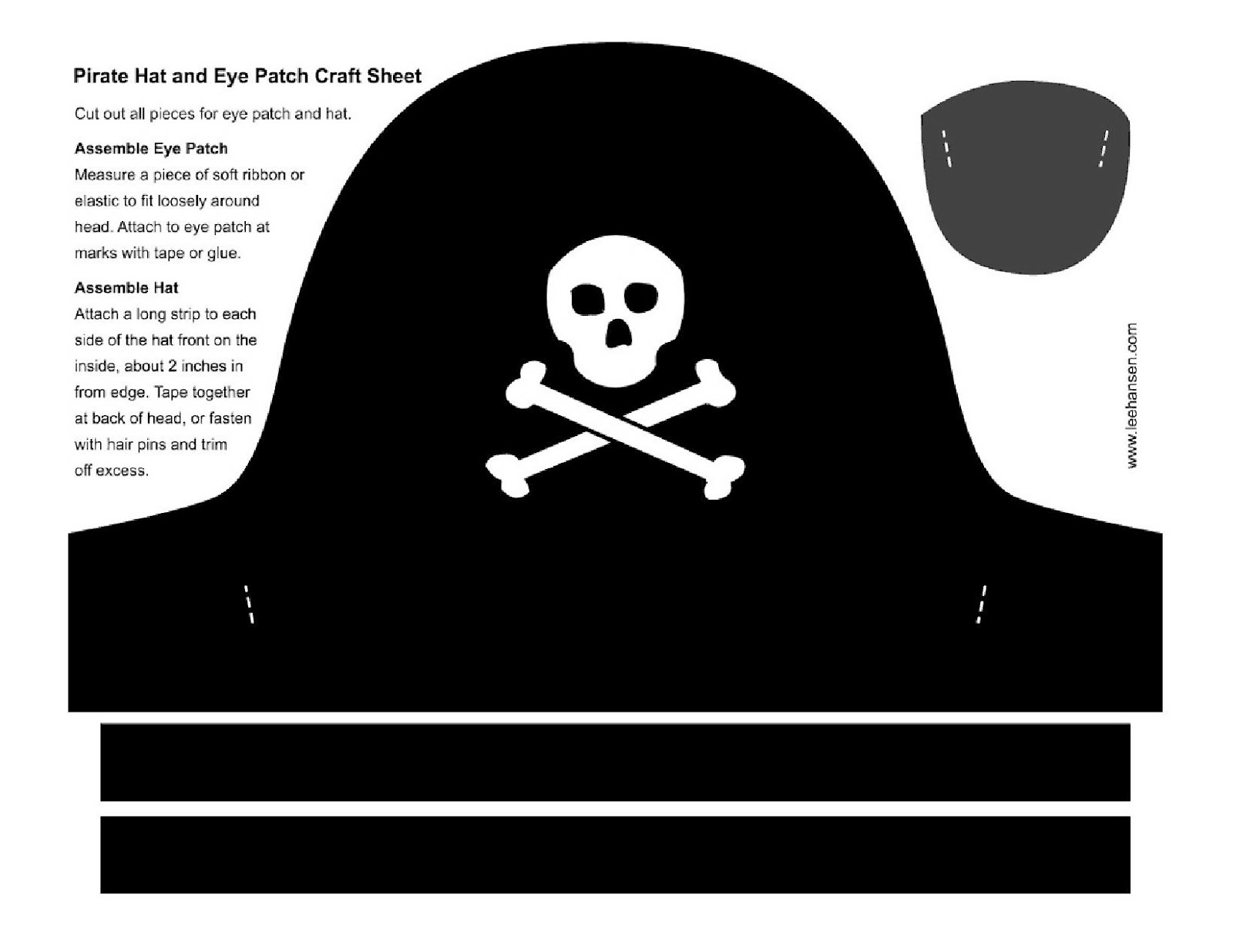 Pirate eye patch craft template basket