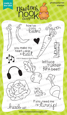 Vegetable Medley | 4x6 photopolymer Vegetable cat stamp set  | Newton's Nook Designs