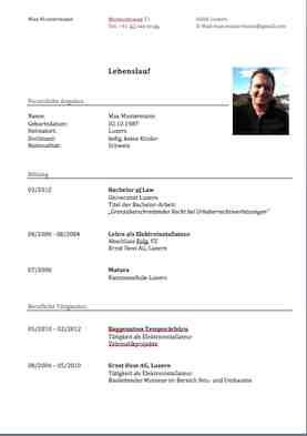 cv beispiel schweiz dokument blogs