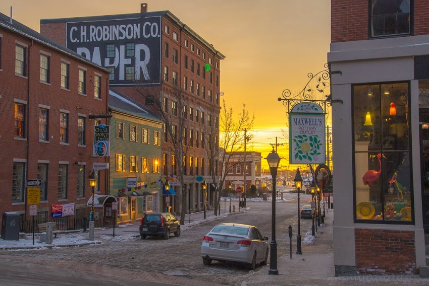 Portland, Maine Moulton Street in the Old Port winter sunrise photo by Corey Templeton January 2015