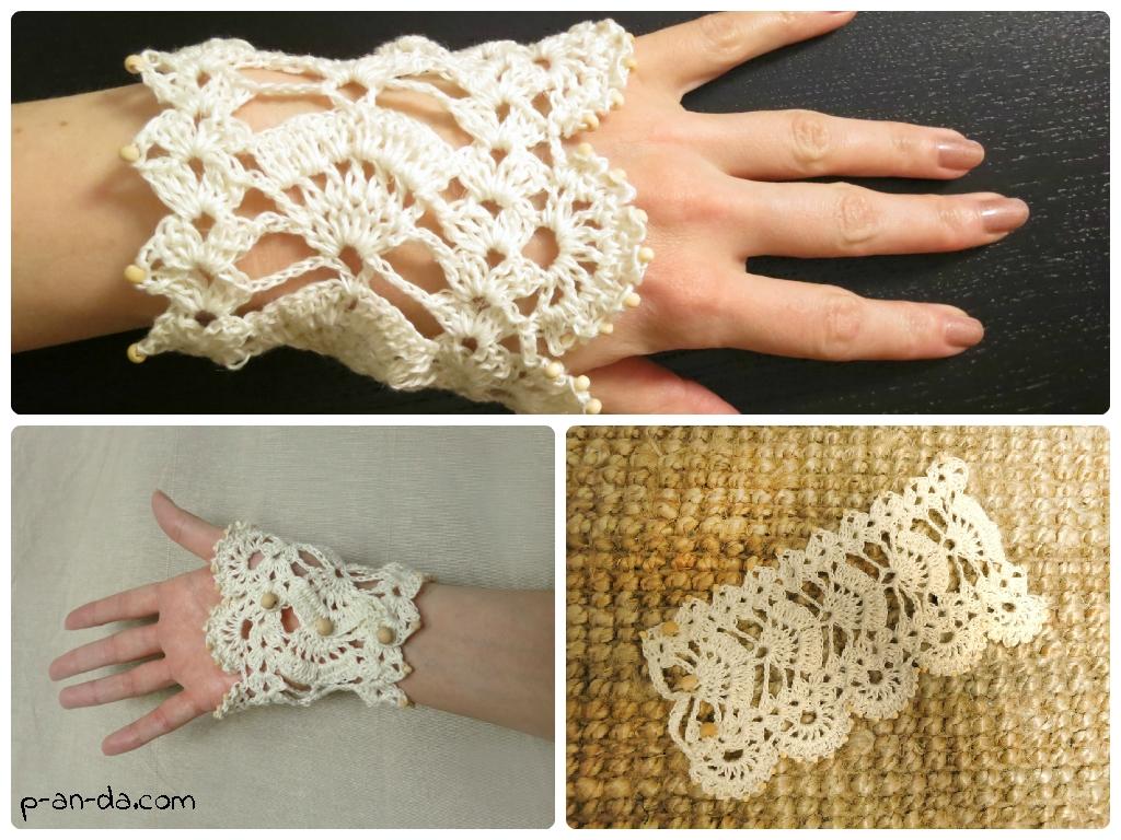 Вязаный браслет-манжета - вязание крючком для начинающих схемы