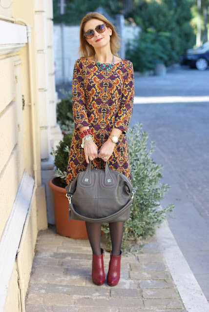 vintage print dress, firmoo sunglasses, Givenchy Nightingale bag, Fashion and Cookies, fashion blogger
