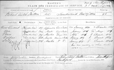 Master Mariner's claim form, dated December 1850 listing Robert Elstob Hutton's service