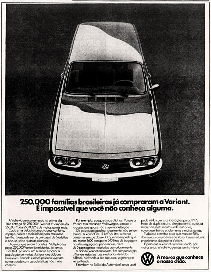 volkswagen variant.  brazilian advertising cars in the 70. os anos 70. história da década de 70; Brazil in the 70s; propaganda carros anos 70; Oswaldo Hernandez;