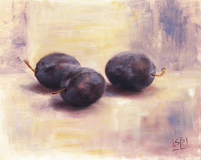 Three Italian plums, oil on panel, still life by Shannon Reynolds
