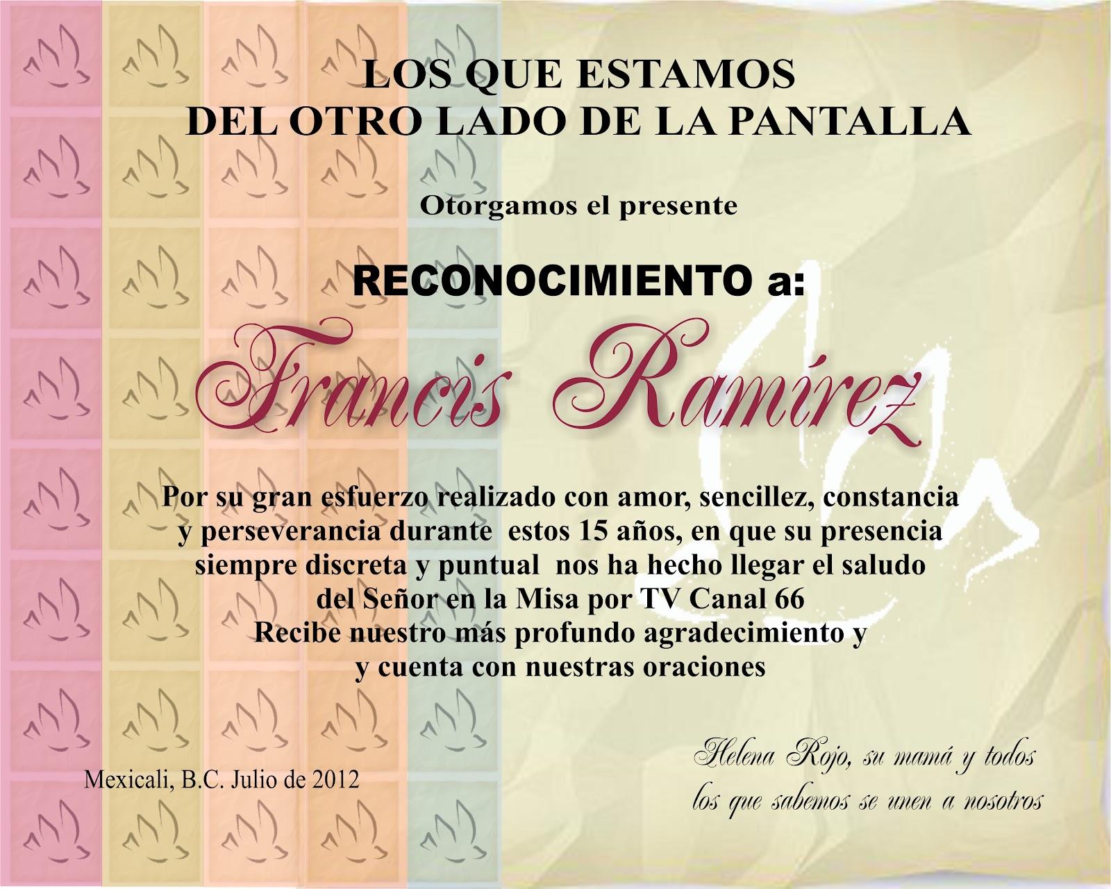 Certificado De Reconocimiento Al Pastor