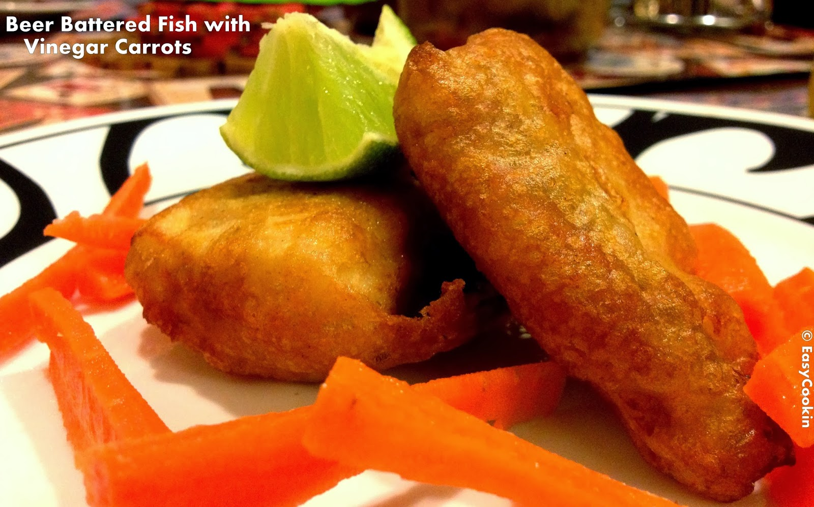 Easycookinwithmolly beer battered fish with vinegar carrots for Easy fish batter