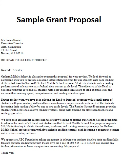 Business Proposal Letter: Sample Grant Proposal