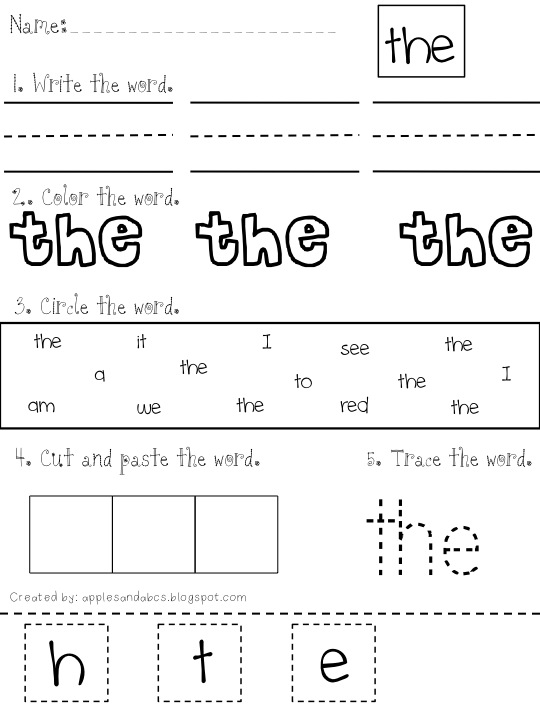 activity kindergarten sight Sight Study Word sheets word