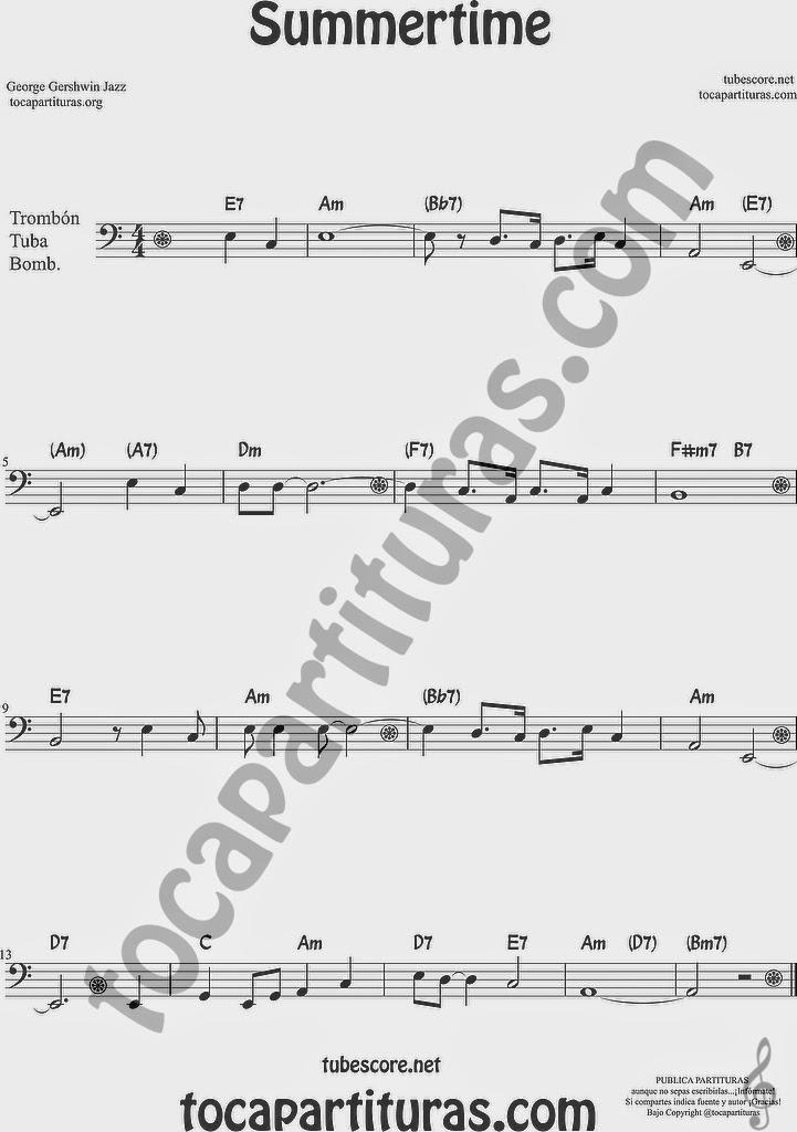 Summertime de Partitura de Trombón, Tuba Elicón y Bombardino Sheet Music for Trombone, Tube, Euphonium Music Scores