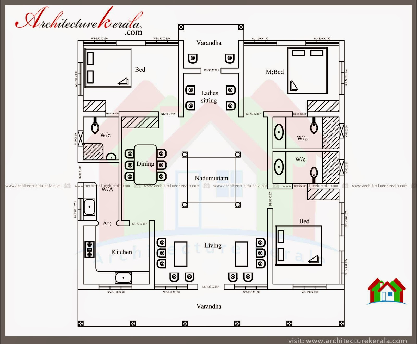 Nalukettu style kerala house with nadumuttam for Three bedroom house plans kerala style