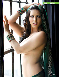Hot and Sexy Sunny Leone in FHM India May 2012- Posing Topless in front of Window