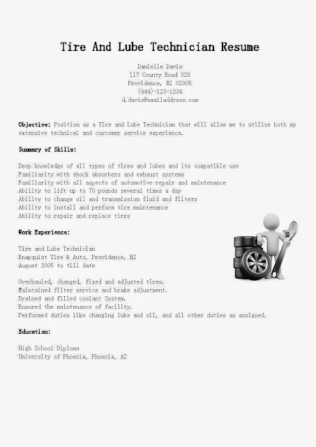 Great Sample Resume Resume Samples Tire And Lube