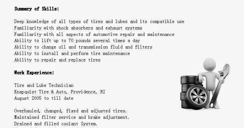 ... Sample Resume: Resume Samples: Tire And Lube Technician Resume Sample