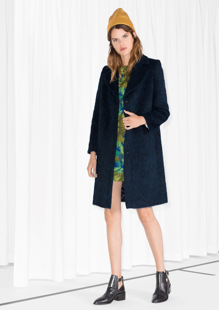 navy hairy coat, navy wool coat, stories navy coat,