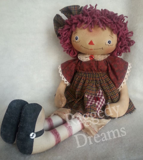 Raggedy Annie Burgundy Dress
