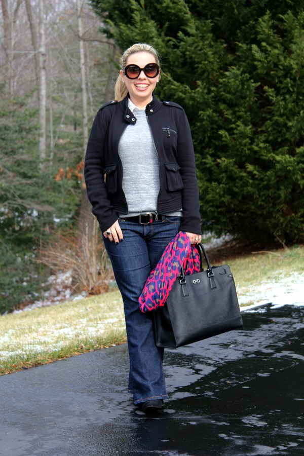 Lil Maggie Flare Jeans from Lucky Brand, Gray Sweater - Forever 21, South Moon Under Animal Print Scarf, Prada Baroque Round Sunglasses, Forever 21 Boots, Salvatore Ferragamo Briana Large Tote