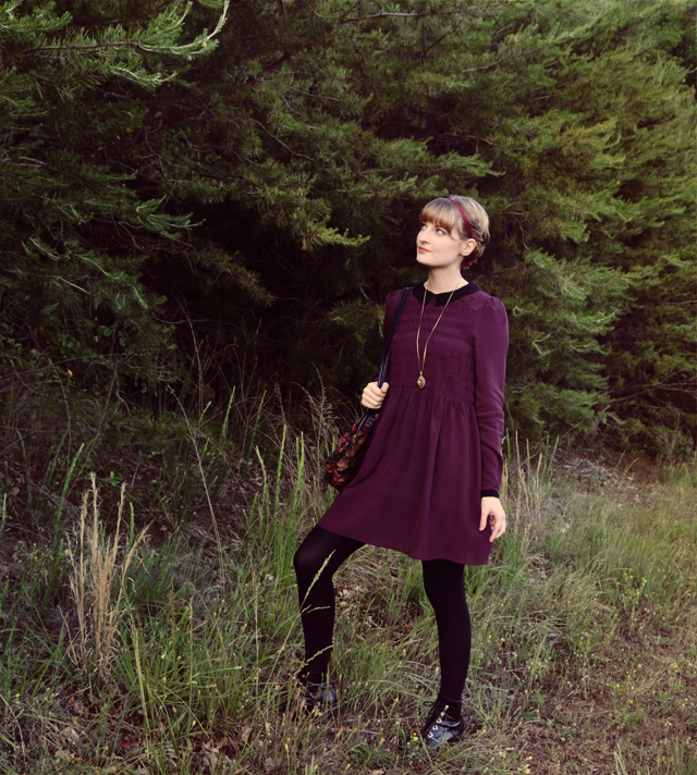 Purple smock dress, black contrast collar and cuffs