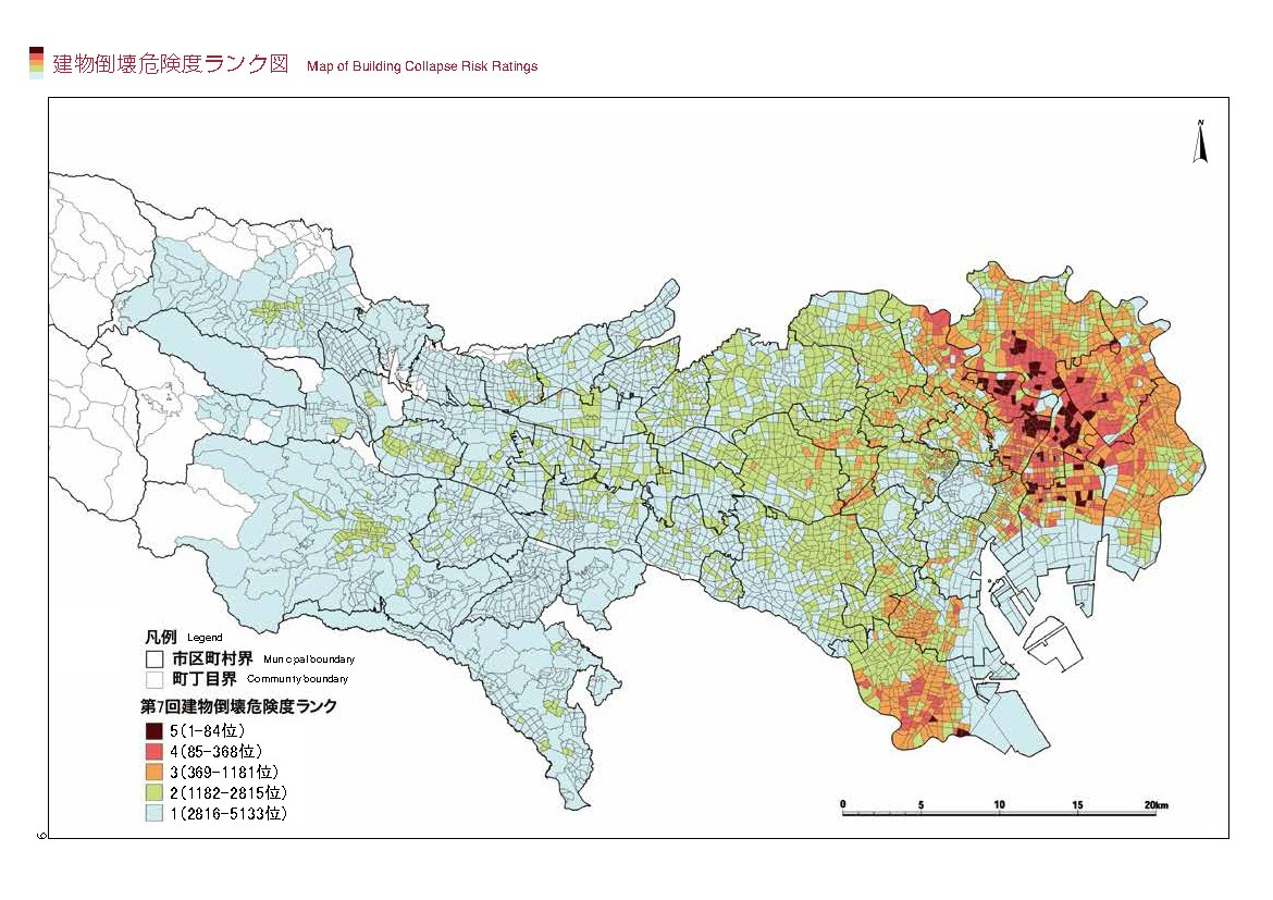 map of building collapse risk image credit tokyo metropolitan government