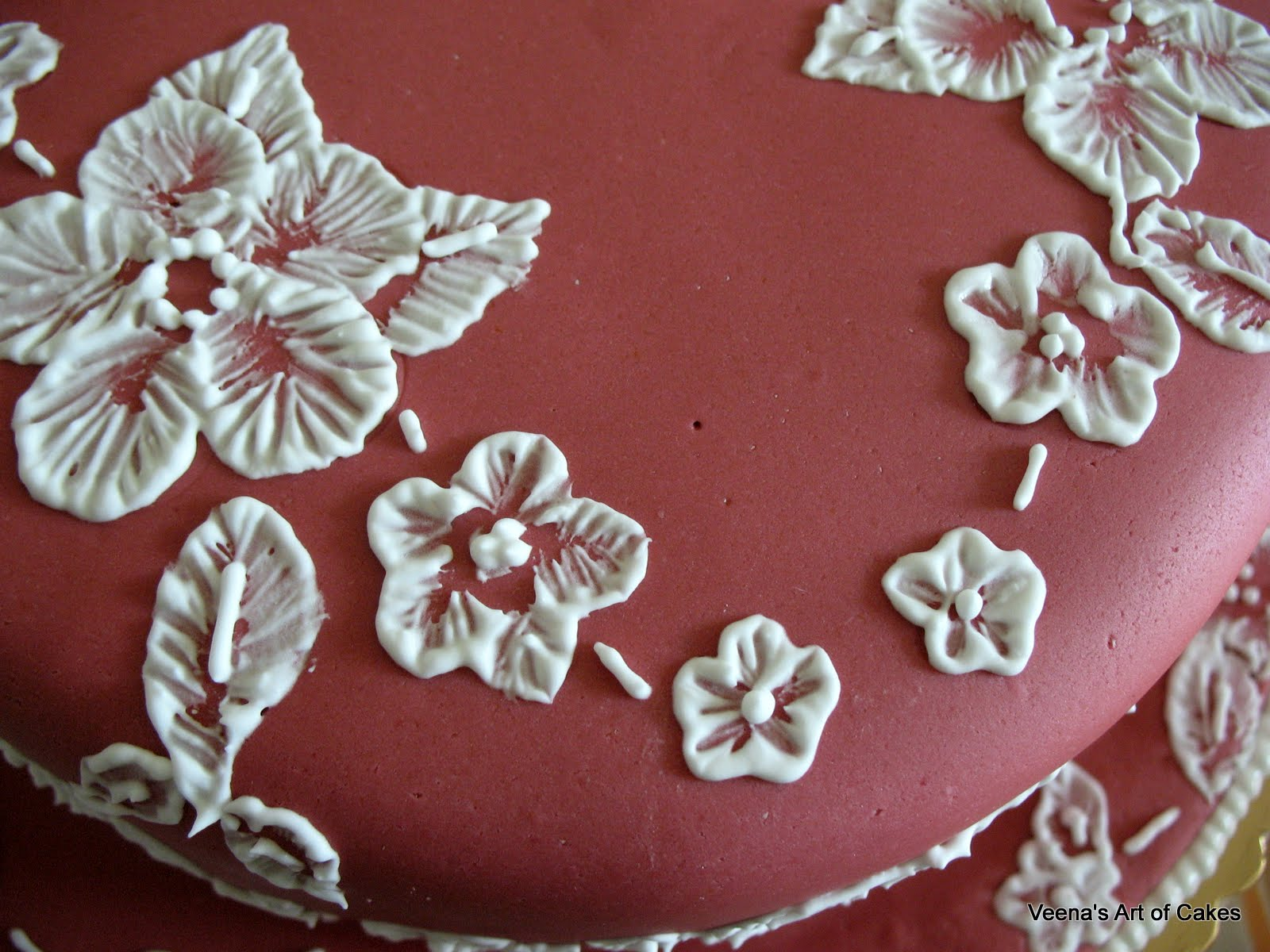 Veena s art of cakes brush embroidery cake lace design